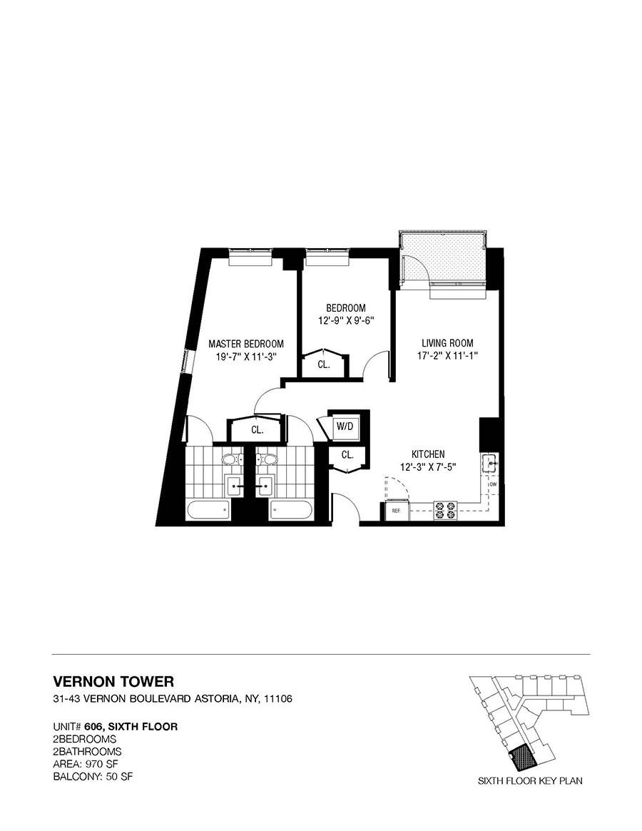 Unit 606 Vernon Tower Diagram 3 Sixth Floor Layout